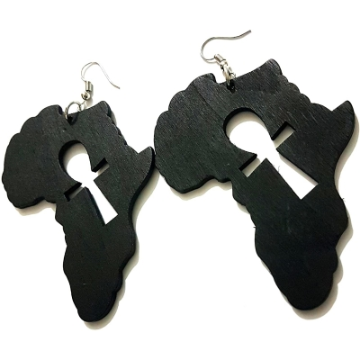 Black Ankh Africa Wood Drop Earrings RebelJewel Rebel Jewel (2)