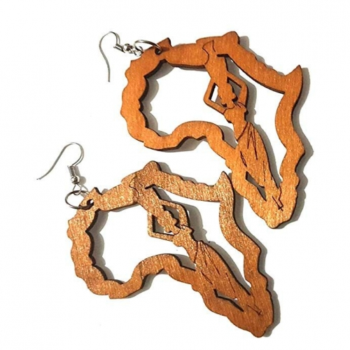 Dojore Brown Africa Map and Lady Drop Earrings Women Wood Fashion Rasta Garvey Ethnic Culture RebelJewel Rebel Jewel
