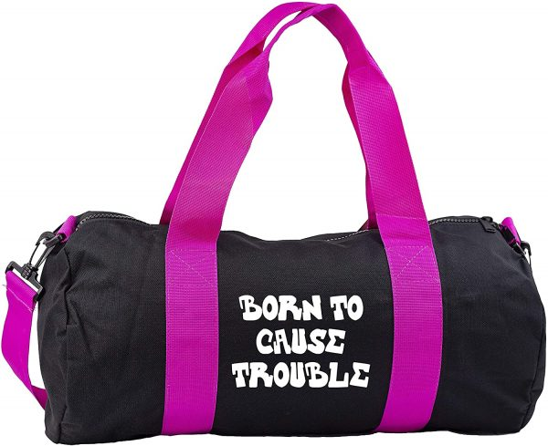 Hippowarehouse Born To Cause Trouble Gymwear Gym Duffle Cylinder Uniform Kit Bag