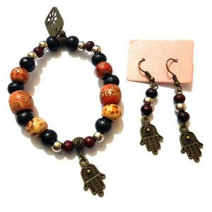 RebelJewel Handmade Bronze Hamsa Charm Drop Earrings and Stretch Bracelet Set. Hand of Fatima