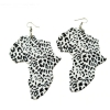 White Leopard Africa Map Wood Earrings RebelJewel Rebel Jewel