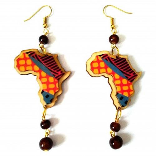 africa map beads drop earrings brown