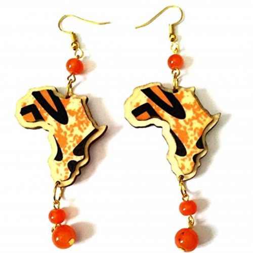 africa map beads drop earrings
