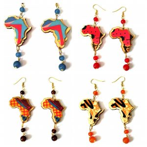africa map beads drop earrings rebeljewel
