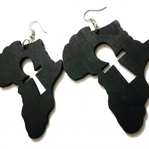 black ankh africa wood drop earrings