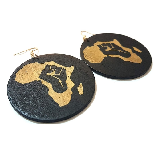 Dojore Brown and Black Africa Round Wooden Earrings Women Wood Fashion Fight The Power rebeljewel rebel jewel