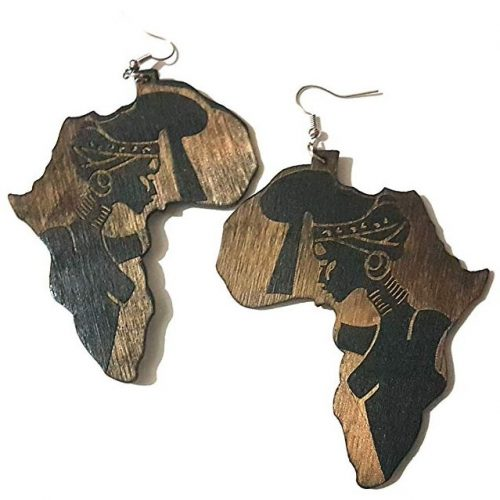black brown lady headwrap woman africa wood earrings rebeljewel rebel jewel