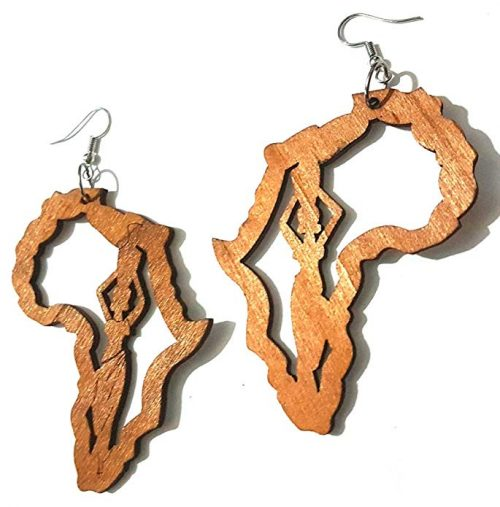 brown africa map woman lady wood earrings jewellery
