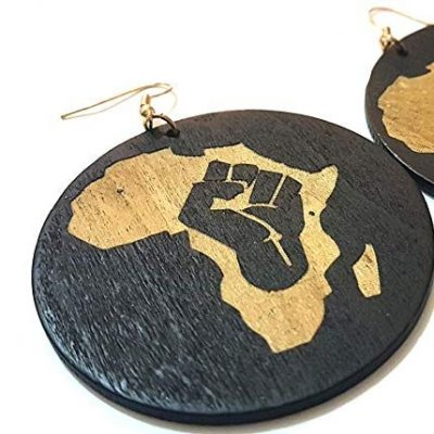 brown and black africa earrings