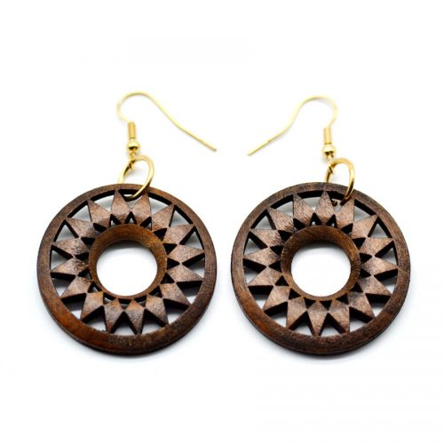 brown donut flower drop earrings rebeljewel rebel jewel