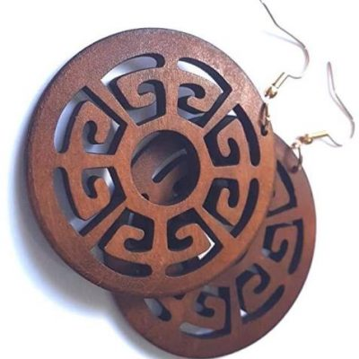 brown wood shield earrings women jewellery