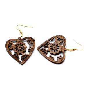 brown wooden heart drop earrings