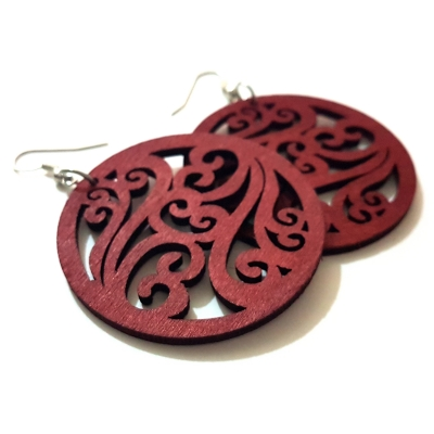 claret red brown wood pattern round earrings rebeljewela
