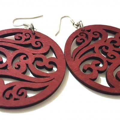claret red brown swirl wood earrings women jewellery
