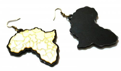 gold black africa acrylic earrings