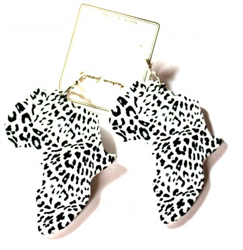 leopard print white black africa wood earrings