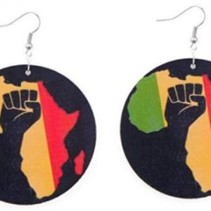 power to the people wood earrings