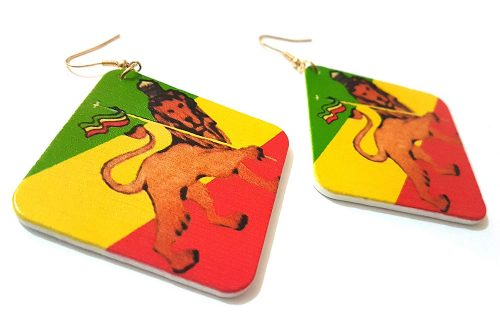 Rasta Lion Wood Earrings