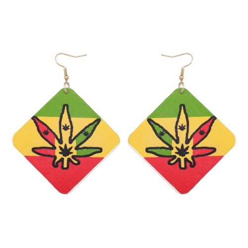 Rasta Wood Leaf Earrings