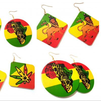 rasta africa lion leaf wood earrings