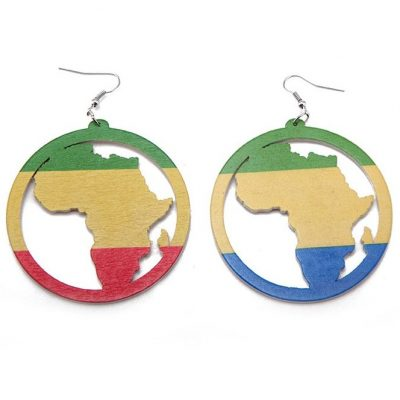 round africa map rasta wood earrings