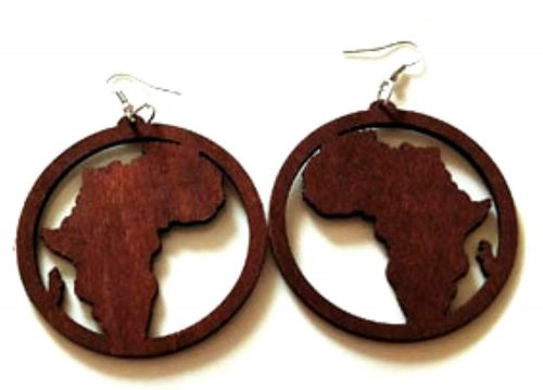 africa map wood jewellery earrings