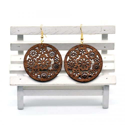 round brown floral wood earrings