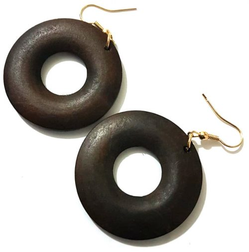 round wooden donut earrings women jewellery
