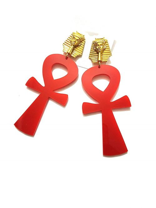 acrylic red white large ankh gold pharaoh earrings