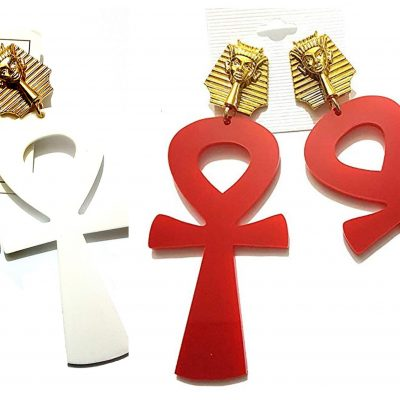 acrylic red white large ankh gold pharoah earrings