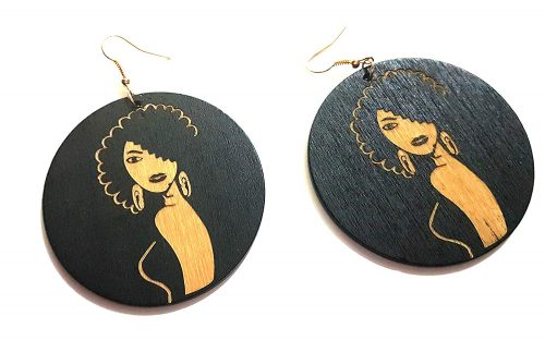 afro lady wood earrings rebeljewel