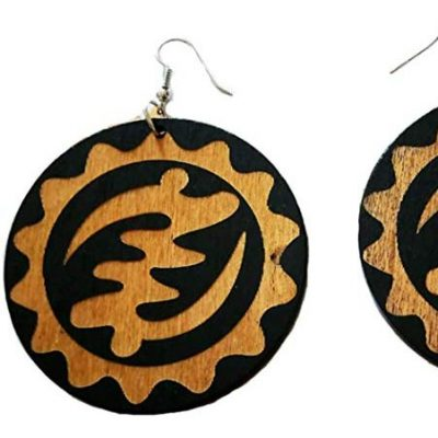 gye nyame adinkra symbol wood earrings