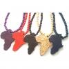 Wooden Beads Africa Map Pendant Necklace