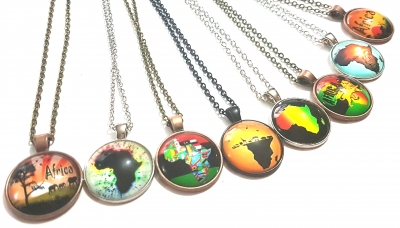 glass pendant africa map necklace rebeljewel