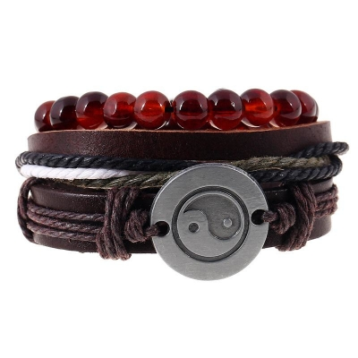 set yin yang beads macrame men brown bracelets rebeljewel rebel jewel