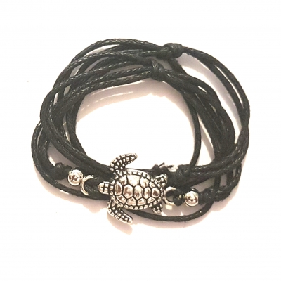 turtle charm pendant waxed cotton cord macrame black friendship bracelet rebeljewel rebel jewel