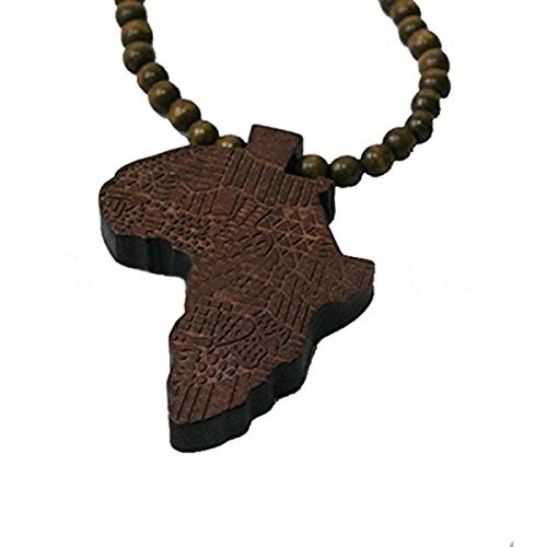 wooden beads africa map pendant necklace rebeljewel