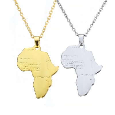 gold silver africa map pendant charm necklace rebeljewel rebel jewel