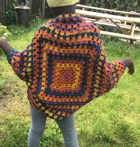 Childrens Cocoon sweater etsyshrug Cardigan - Handmade By YJas Loose Fitting - Outer Garment - Bohemian Granny Square Shrug - Acrylic - One Size Sewche Rebel Jewel RebelJewel