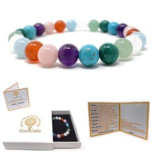 Fertility & Pregnancy Crystal Bracelet - Power Bead Bracelet - Soul Gift Box and Information Tag - Amethyst, Moonstone, Rose Quartz, Aquamarine, Turquoise, Green Aventurine, Carnelian, Malachite amazon