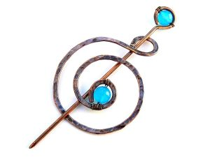 Handmade Celtic Copper Shawl Pin with Blue Agate
