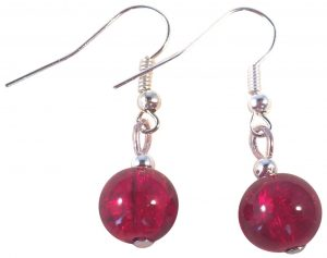 Red Crackle Glass Bead Earrings - 10mm Round Beads on Nickelfree Hooks