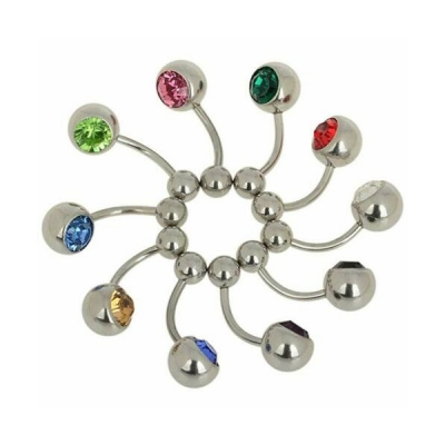 stainless steel silver banana curved bars barbells rebel jewel rebeljewel