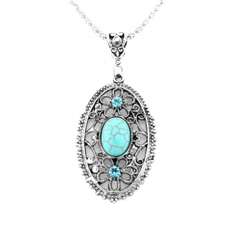 turquoise pendant silver chain necklace rebeljewel