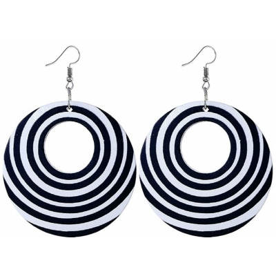 black white stripe round hoop earrings rebeljewel rebel jewel
