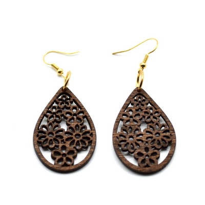brown teardrop floral flowers wood earrings rebeljewel rebel jewel