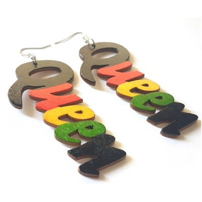 queen rasta garvey wood earrings rebeljewel rebel jewel jewellery