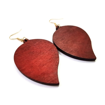 red wood leaf earrings rebeljewel