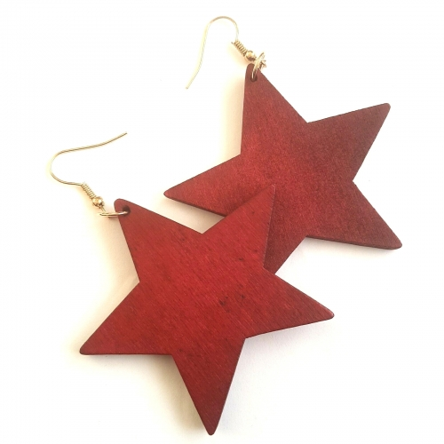 red wood star earrings rebeljewel