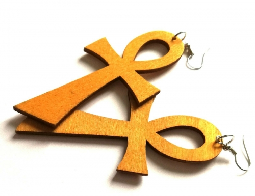 wood brown ankh key of life earrings rebeljewel rebel jewel jewellery